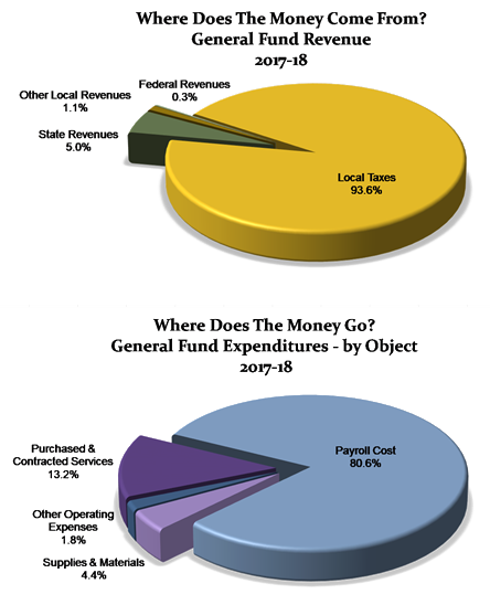 Pie graph of revenue and expenditure for 2017-2018