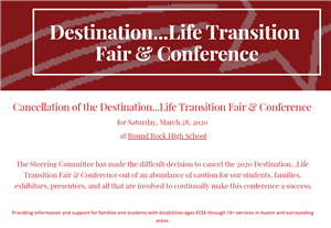 March 28th Destination Life Fair Canceled