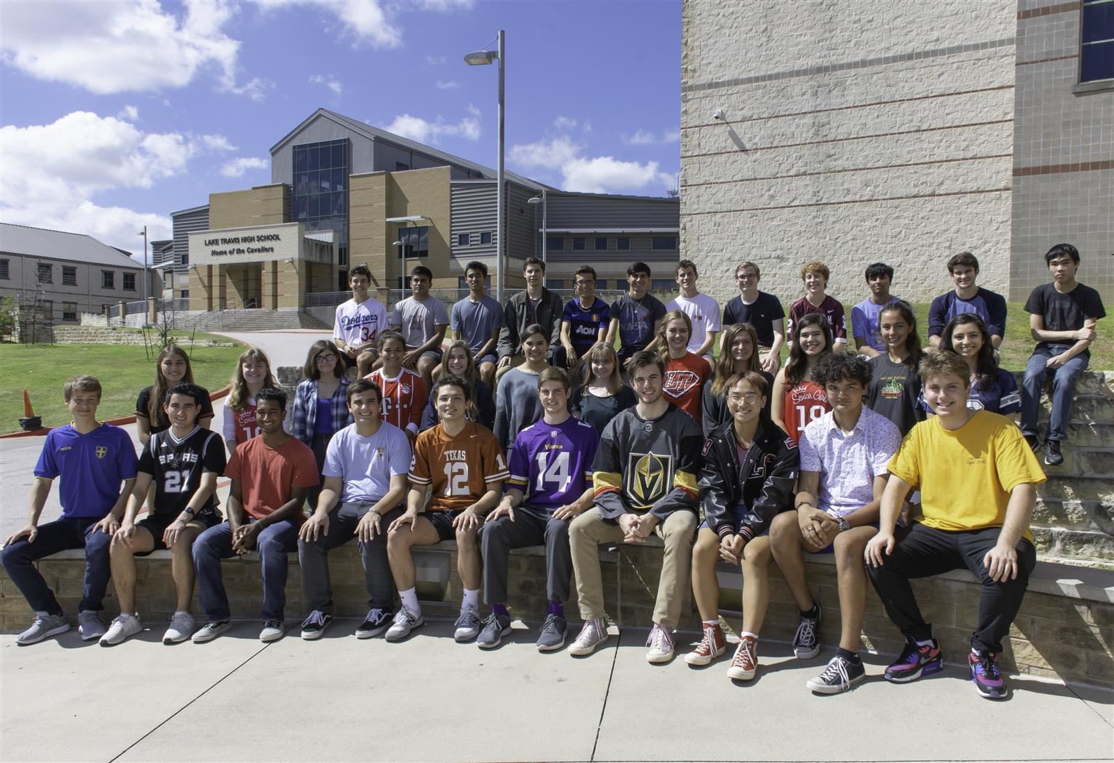 Thirty-seven students pose for a group photo.